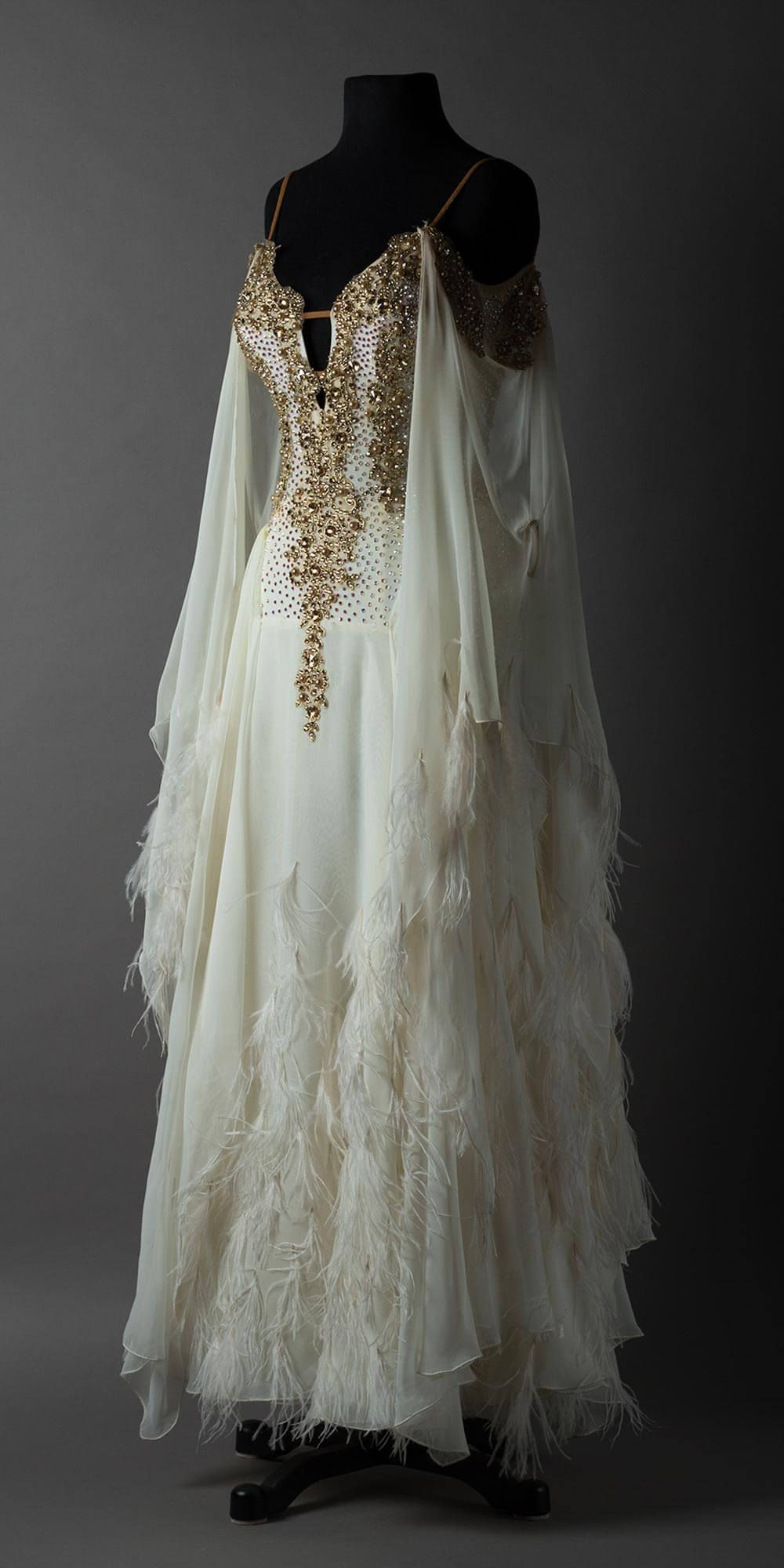 French vanilla chiffon standard with gold lace and wispy feathers #promthings