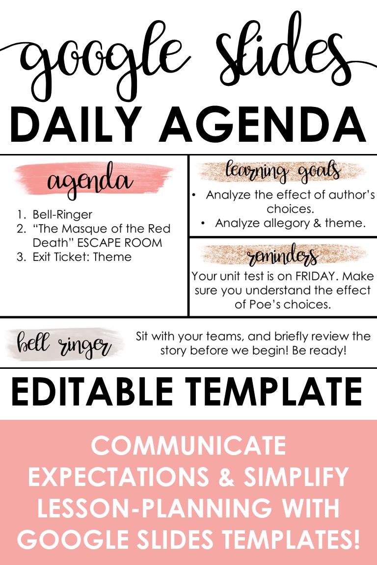 Daily Agenda Template Google Slides Pink Glitter Theme Teaching Technology Teaching Classroom Tech