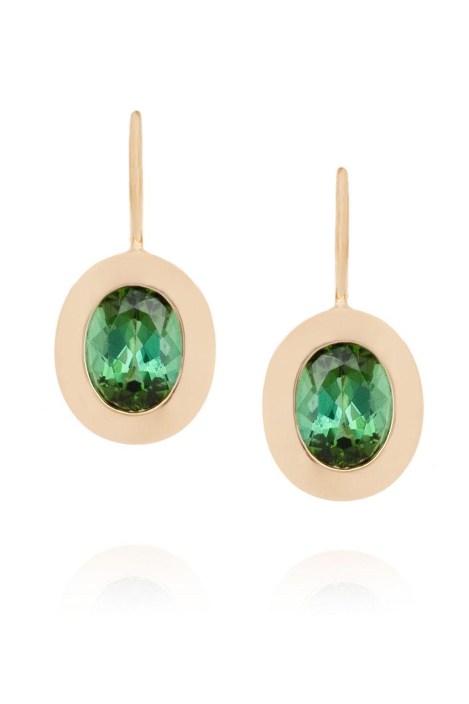 Green Tourmaline Oval Drop Earring Designer Earrings