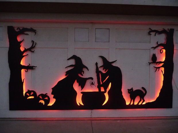 Halloween Witch Silhouettes Backlight With Orange Or Green Lights