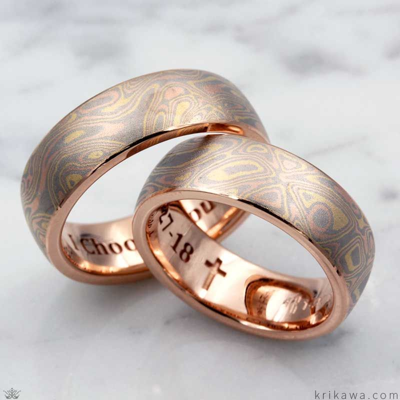 These Matching Wedding Bands Were Handcrafed In 14k Rose Gold And Our Trigold Mokume Gane A Personal With Images Wedding Band Sets Wedding Bands Handcrafted Wedding Bands