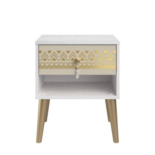 Chevet 1 tiroir ELYSIA Imitation chêne blanchi/ doré | Déco ...