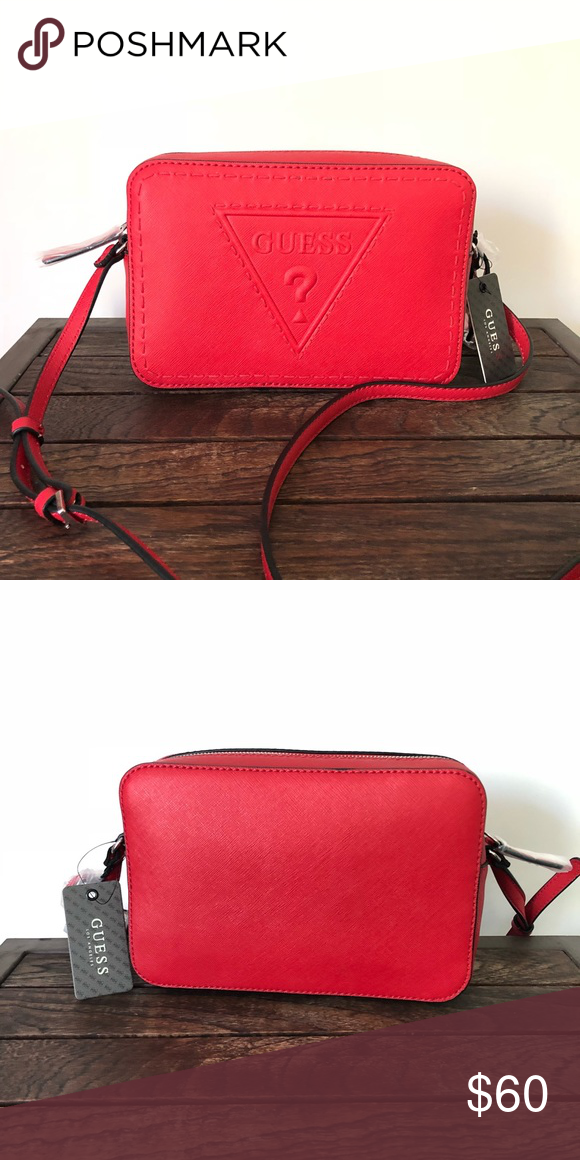 """0fd60b07083 Guess crossbody baldwinpark red bag NWT New with tag crossbody bag with zip  8.75x6x2.5 Strap around 55"""" Guess Bags Crossbody Bags"""