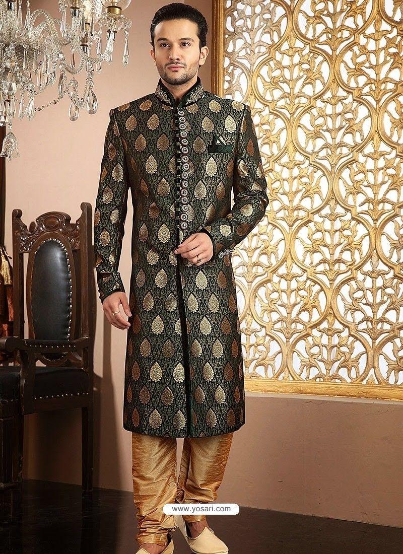 Impressive green pure banarasi gichha silk sherwani model yoshv