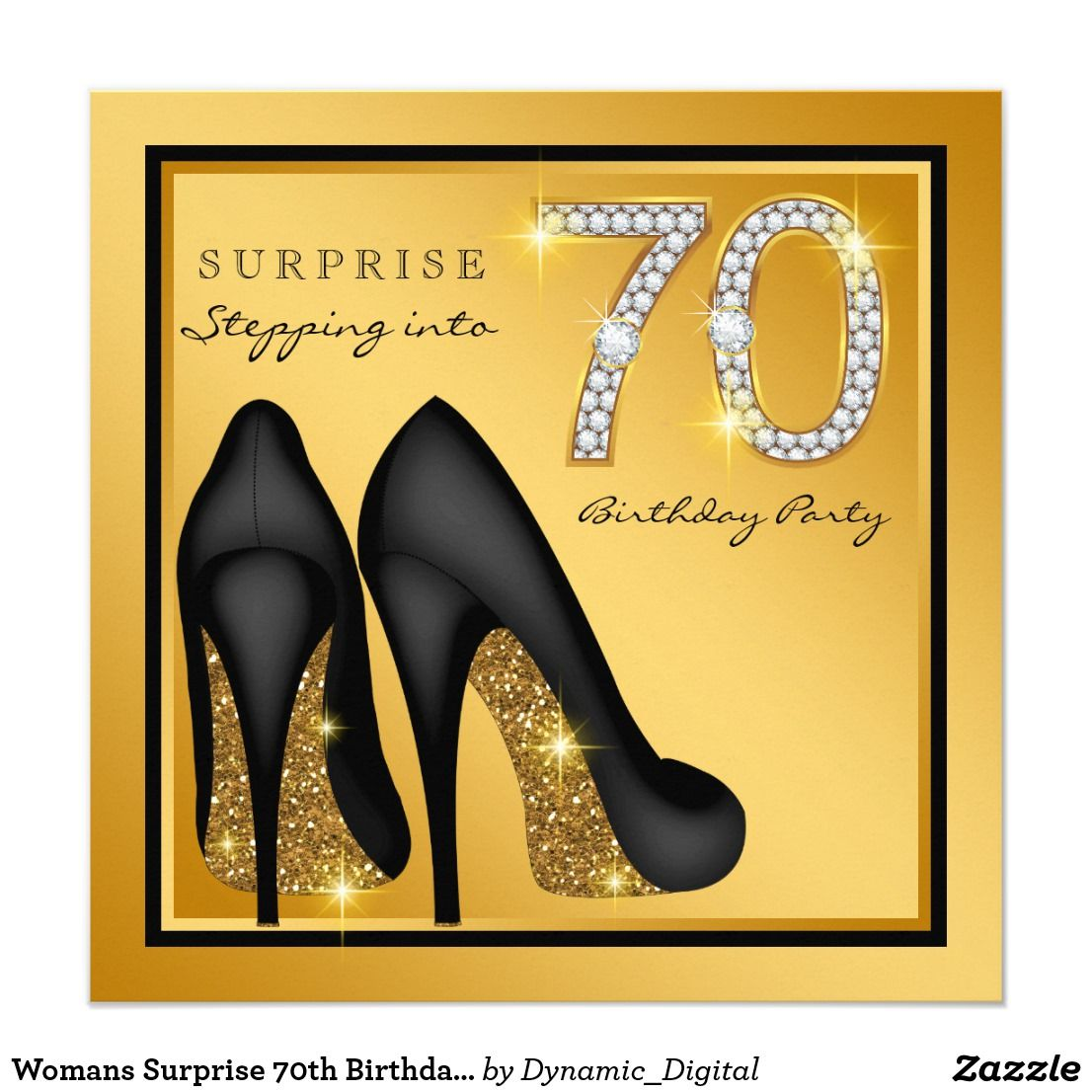 Womans Surprise 70th Birthday Party Card | 70 birthday parties, 70 ...