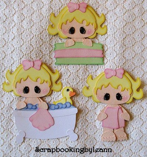 Girl Bathtub Paper Piecing Set for Premade Pages, Cards or Borders