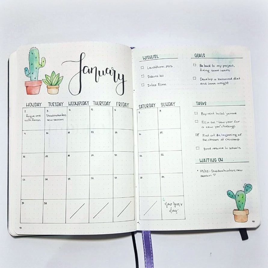 bullet journal idea bujo monthly watercolor cactus plant theme wishlist goals waiting on. Black Bedroom Furniture Sets. Home Design Ideas