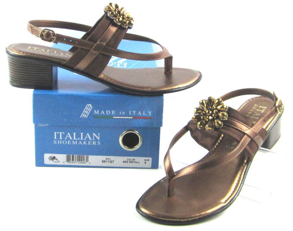 2bf5f49c9 NEW Italian Shoemakers Lovely Bronze Metal Rhinestone Sandals Womens Sz 9  5811S7  ItalianShoemakers  Sandals  Casual