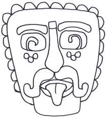 Mayan masks colouring pages south america pinterest for Aztec mask template