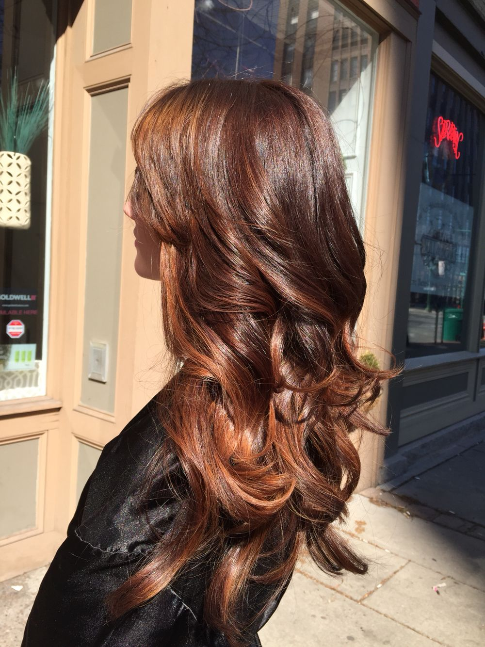 Balayaged Warm Honey Highlights With A Darker Root Area In Long Hair