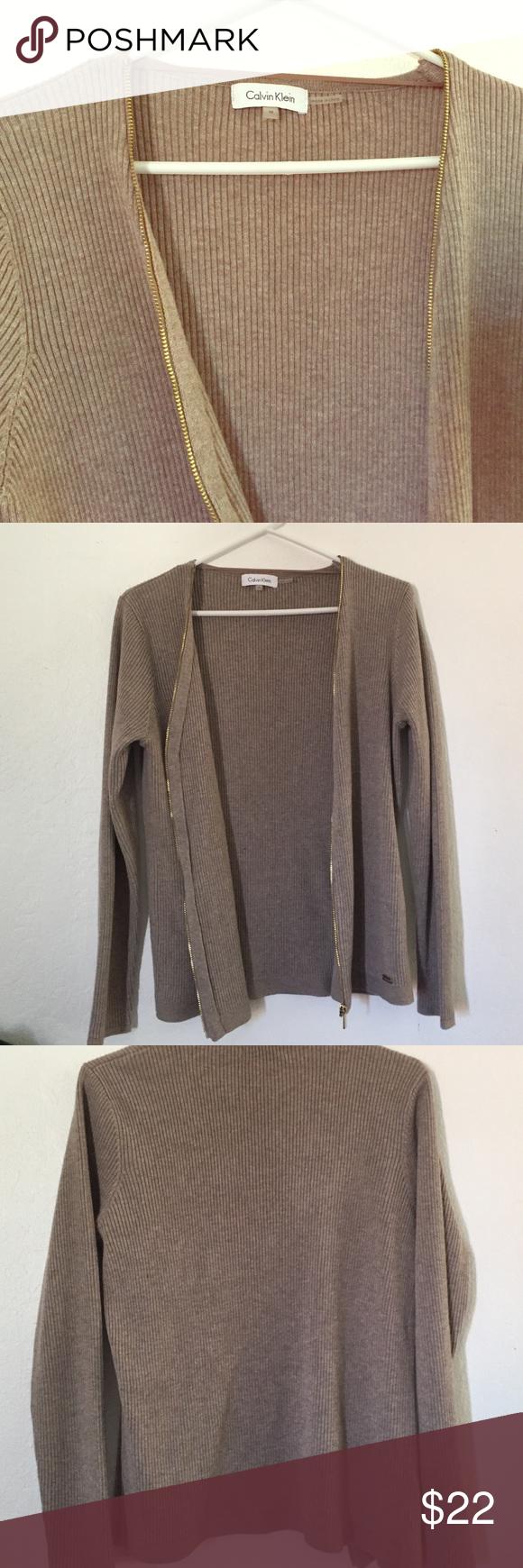 Calvin Klein zippered cardigan worn a few times still in good condition Calvin Klein Sweaters Cardigans