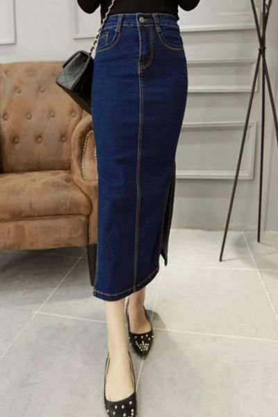 Vintage Side Slit High Waist Denim Bodycon Skirt - OASAP.com