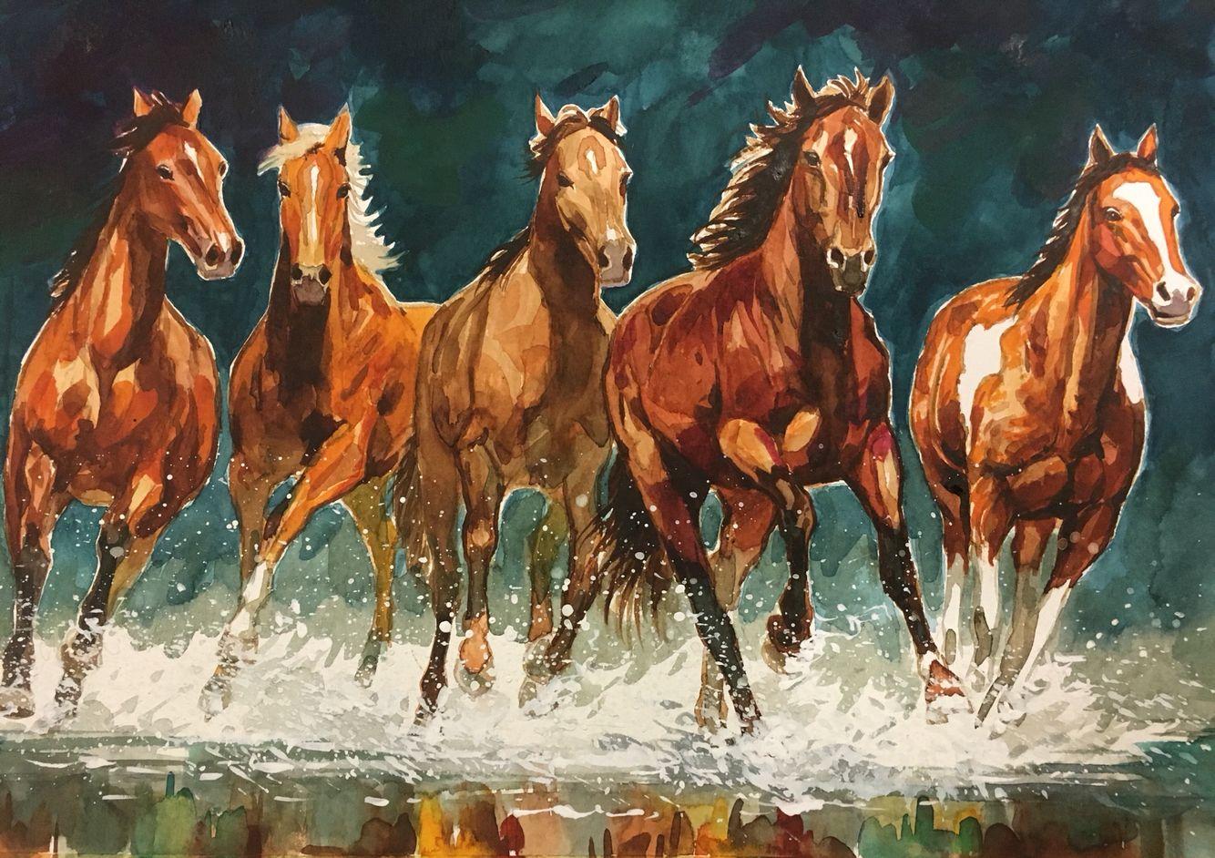 Horses Running Over Water Magical Horses Watercolor Horse Horses Running Painting