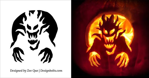 Free scary pumpkin carving stencils templates patterns