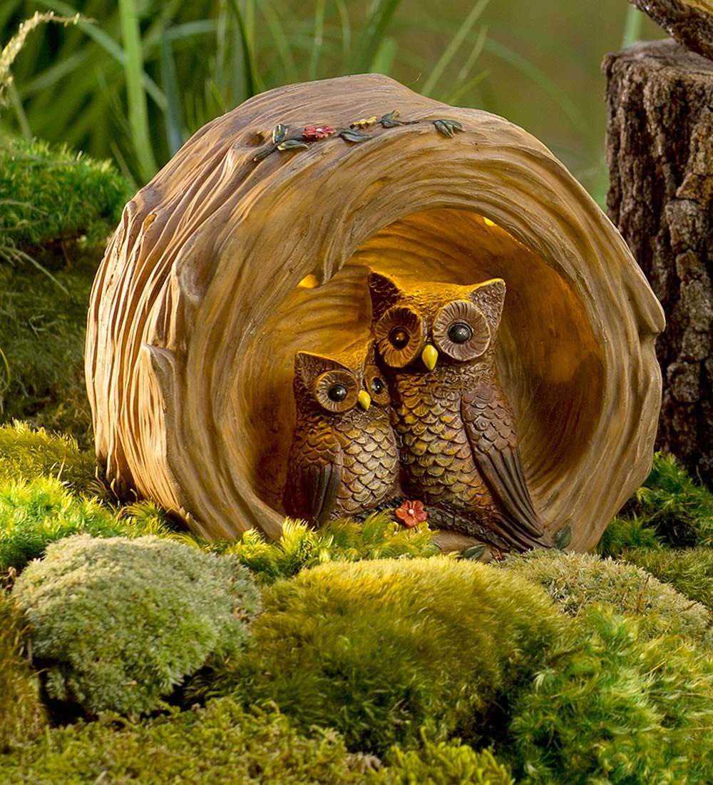 Woodland Owl in Lighted Log Sculpture   Decorative Garden Accents ...
