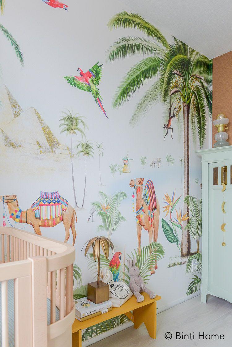 Verwonderend Babykamer behang met palmbomen en kamelen van Creative Lab HS-34