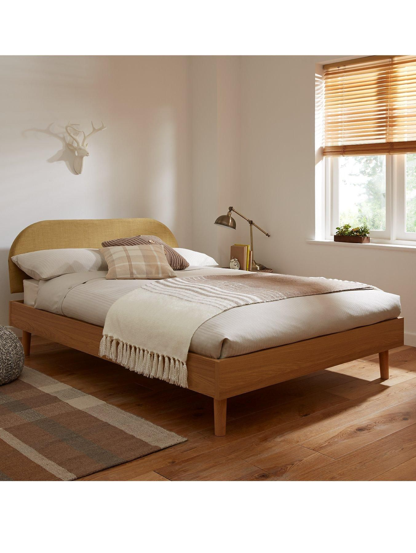 Contemporary scandinavian style wooden bed frame with a for Wooden bed frame with headboard