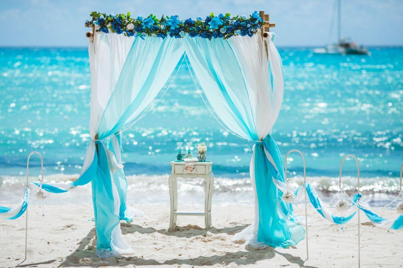 Teal beach wedding  Light Blue and White Wedding Arch turquoiseweddingarch