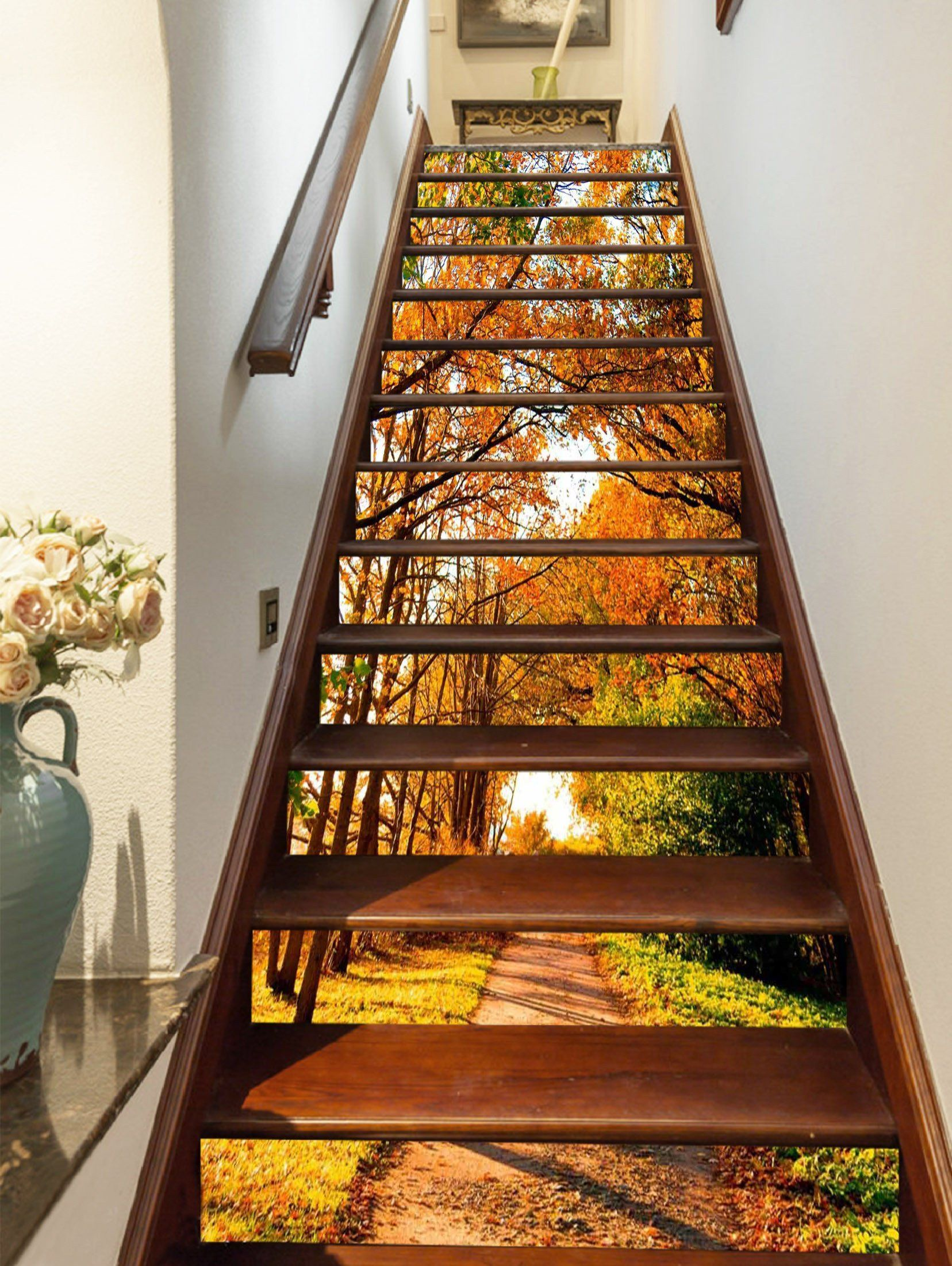 3d Autumn Trees Path 1457 Stair Risers Home Stairs