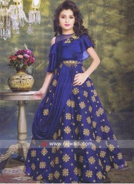 e9239fbc398d Blue Layered Gown for Kids | fashion muslim in 2019 | Vestidos ...