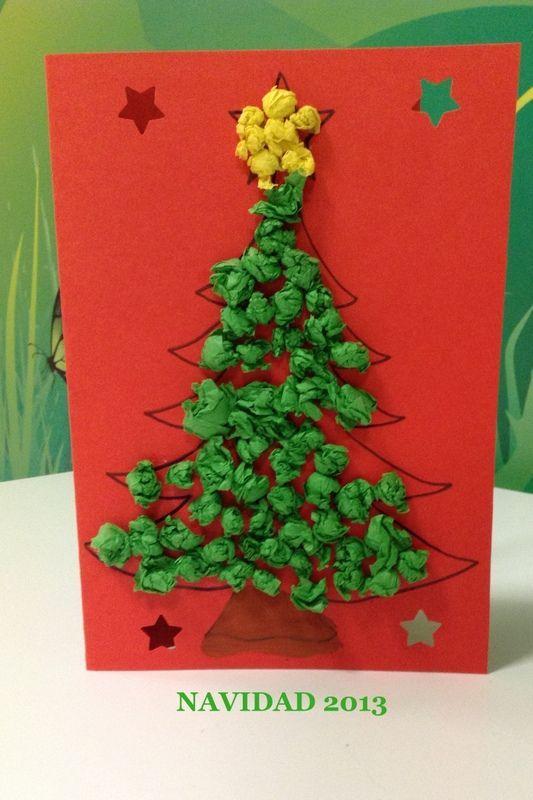 Resultado de imagen de manualidades navidad infantil - Manualidades postales navidad ...