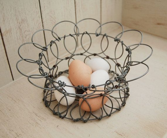 Home & Hearth Other Antique Home & Hearth Antique Primitive Wire Egg Basket Collapsible Foldable