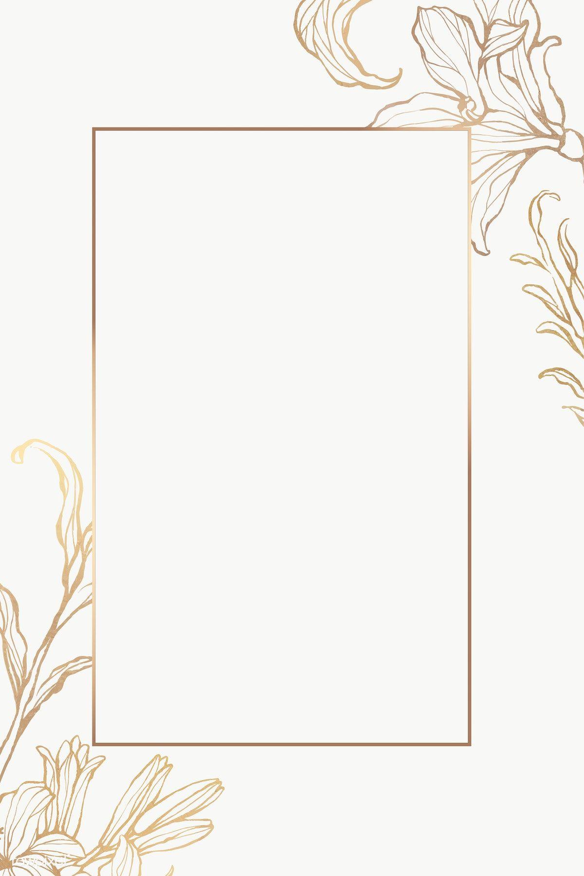 Rectangle Gold Frame With Floral Outline Premium Image By Rawpixel Com Nunny Vector V Frame Border Design Flower Graphic Design Gold Wallpaper Background