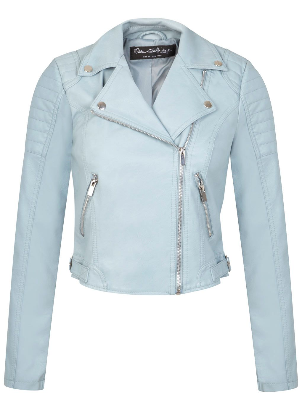 edb5208251 Miss Selfridge Light Blue Cropped Leather Jacket