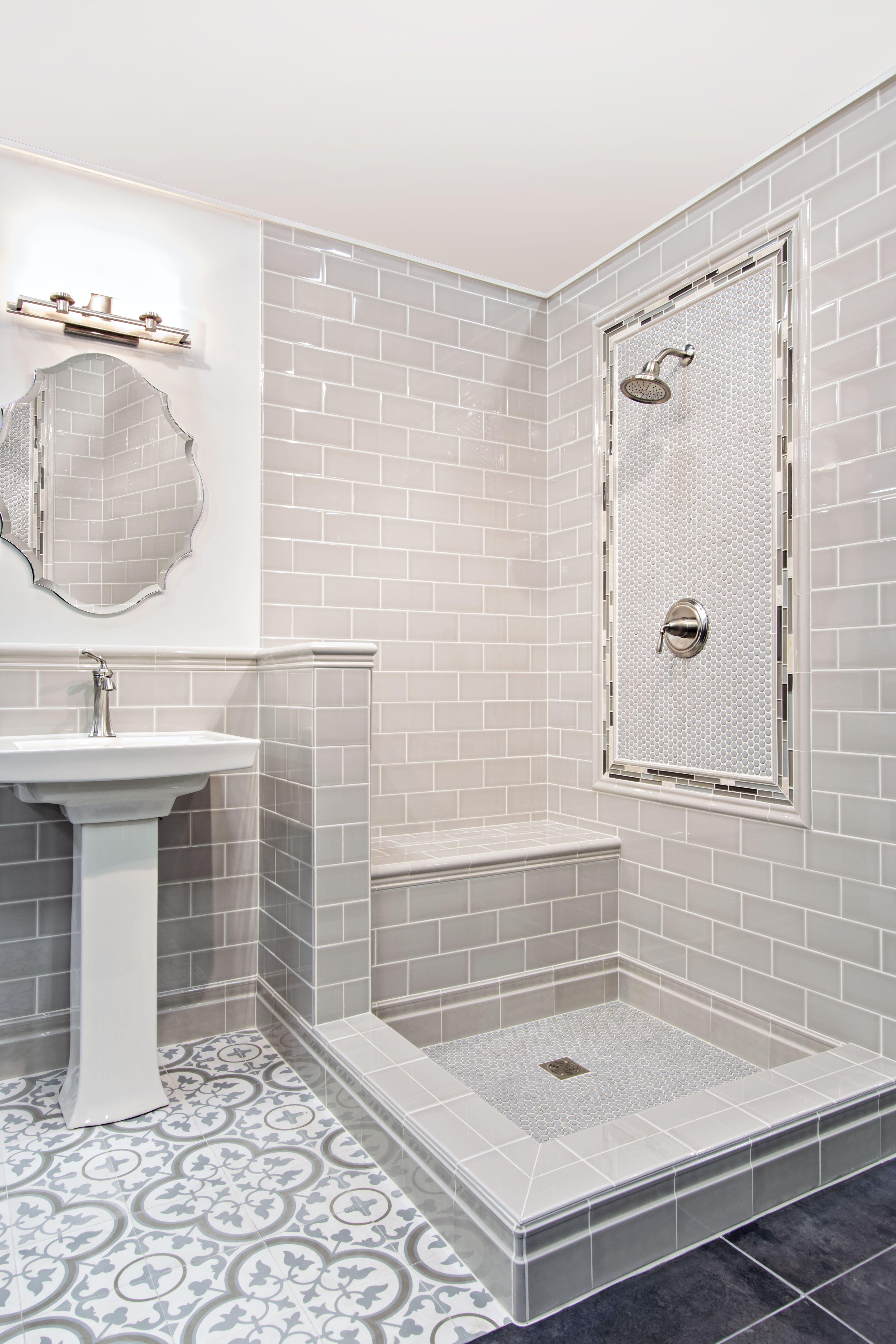 Grey bathroom floor - Light Blue And Grey Bathroom Floor Tile Cheverny Blanc Encaustic Cement Wall And Floor Tile