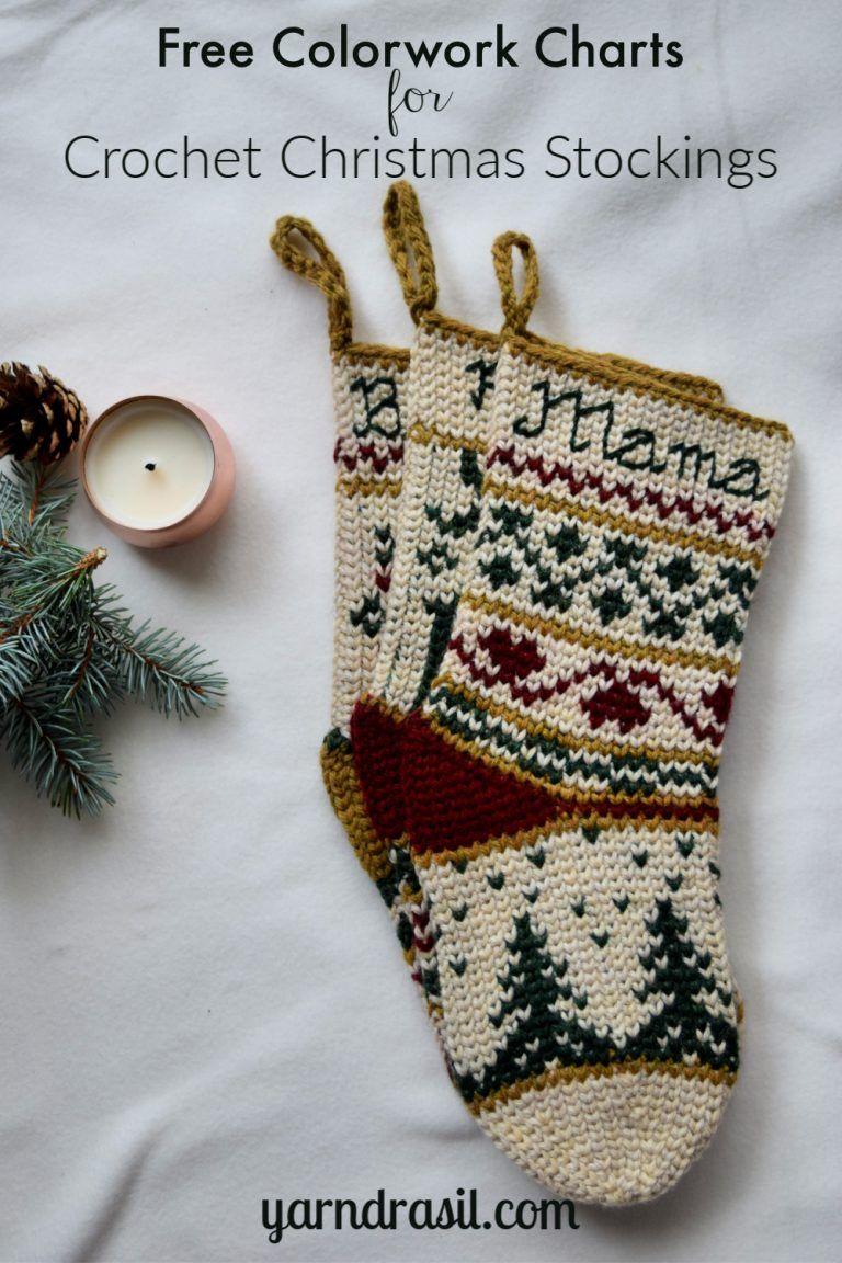 Free stocking pics Christmas Stocking Colorwork Charts Yarndrasil Free Colorwork Chart Diy Christmas Stocking Pattern Christmas Stockings Diy Crochet Christmas Stocking