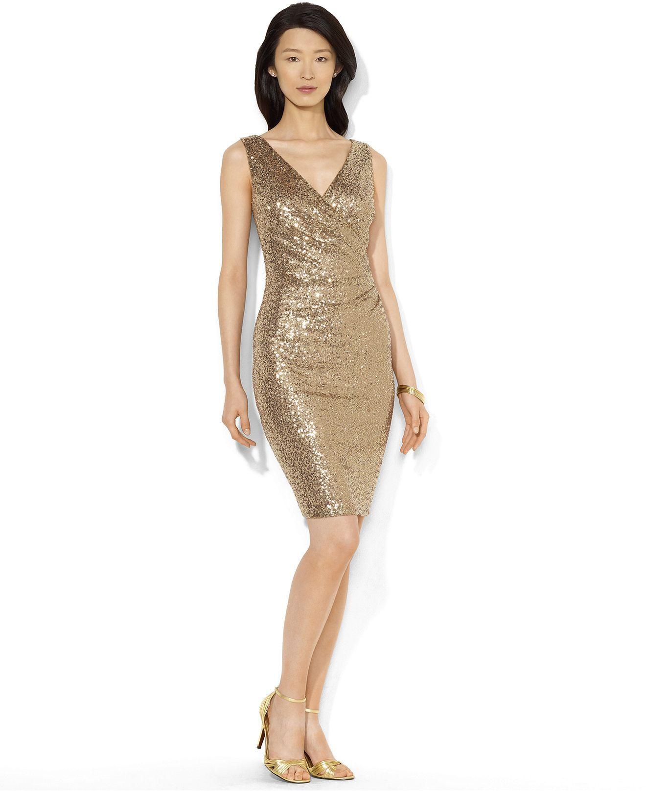 Lauren Ralph Lauren Dress, Sleeveless Sequin - Womens Dresses ...