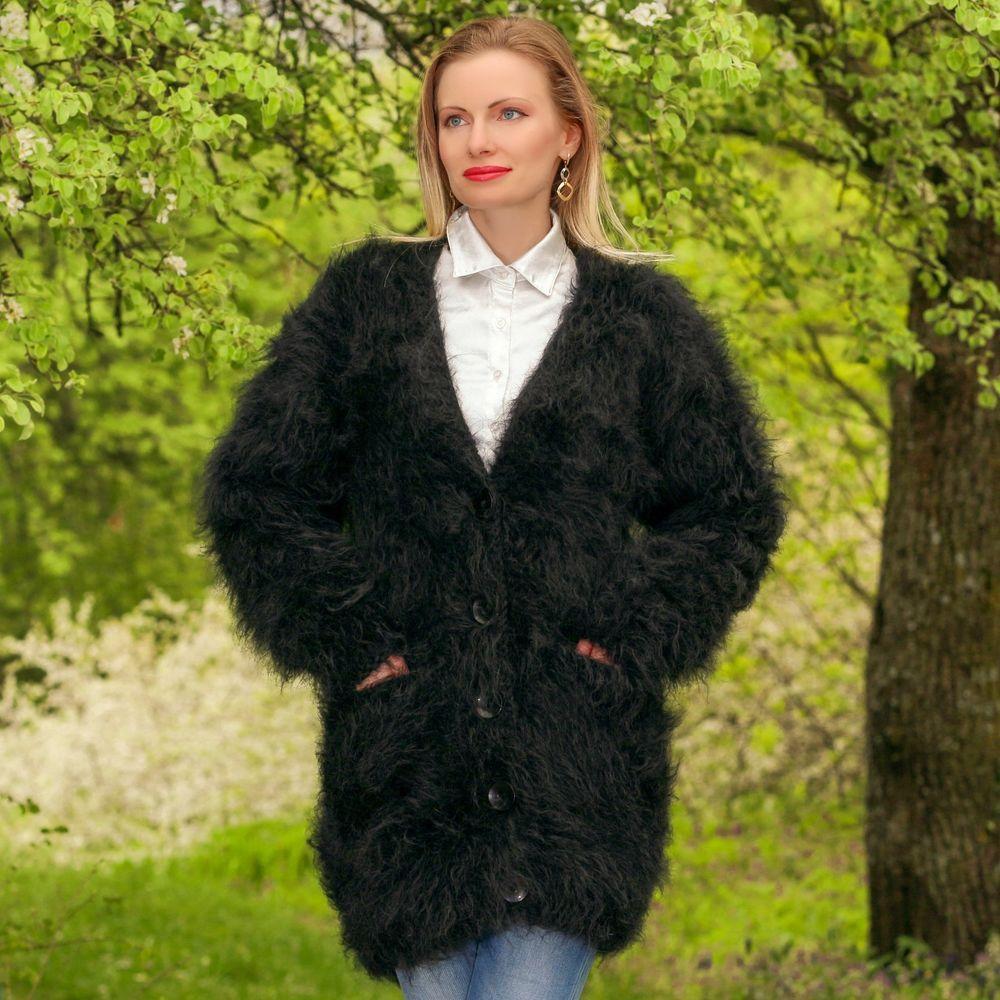 BLACK Hand Knitted Sweater Fuzzy V neck Long Fluffy Mohair