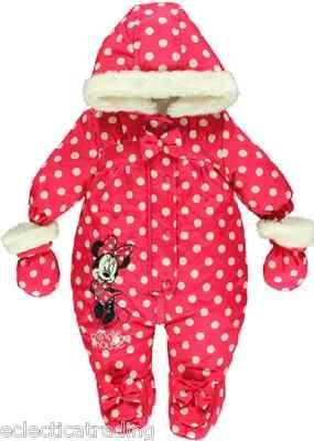 1d11a25f8 Disney minnie mouse girls snowsuit pink white spots 0 3 6 9 12 18 ...
