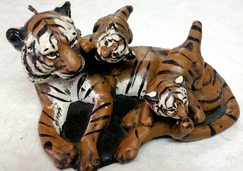 Vintage Rare Tiger & Playful Cubs Figurine Painted Wax Candle Figure Unused Nice