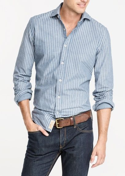 0a1423ad385 Camisa slim-fit oxford rayas - Hombre