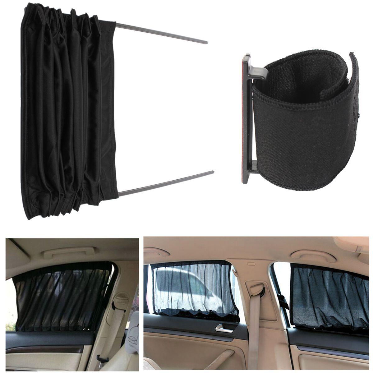 2pcs 70cm Mesh Auto Rear Valance UV Sunshade Drape Visor Car Window Curtain