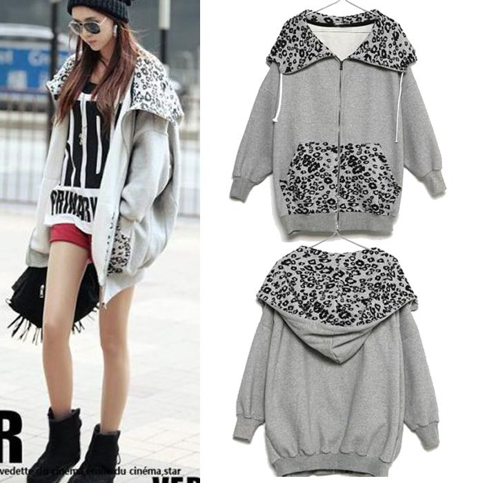 Leopard Coat Women Plus Polar Fleece Cardigan Sweater Coat Fashion ...