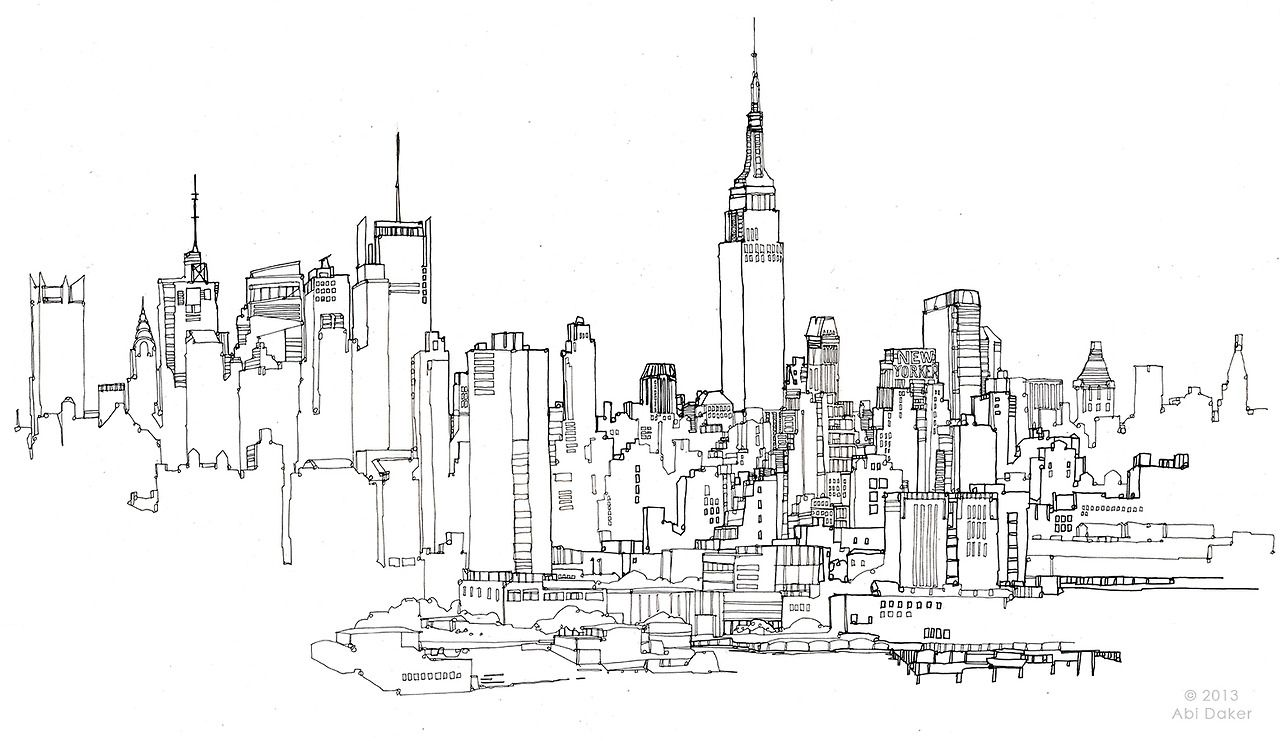 Line Drawing New York City Skyline : City skyline sketch google search art pinterest