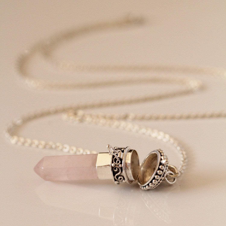Photo of Large Rose Quartz Locket Necklace, Rose Quartz Necklace, Sterling Silver Locket, Initial Necklace, Statement Necklace, Name Necklace