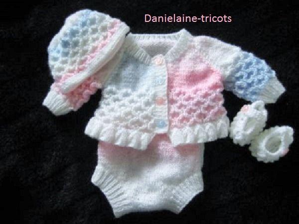 bonnet Tricoté à la main à motifs MATINEE Manteau chaussons Set en Bleu 0/3 mois bébé garçon