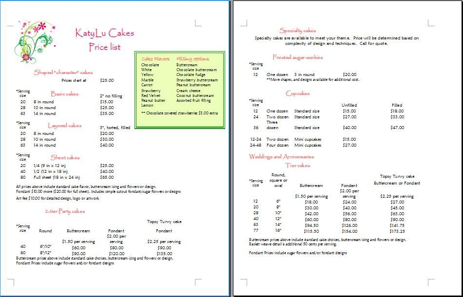 Cake Price List Template Cakepins