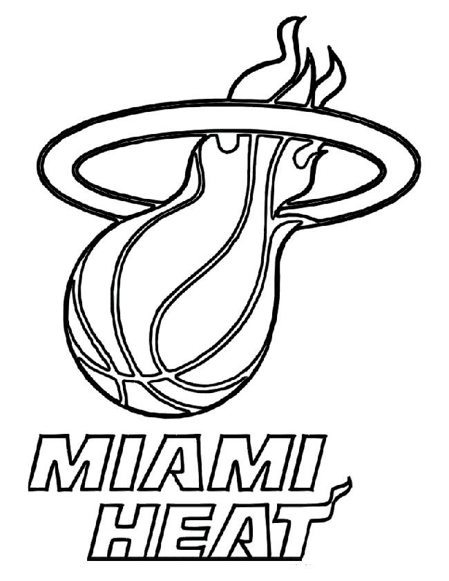 Basketball Miami Heat Baskeball Coloring Page Miami Heat