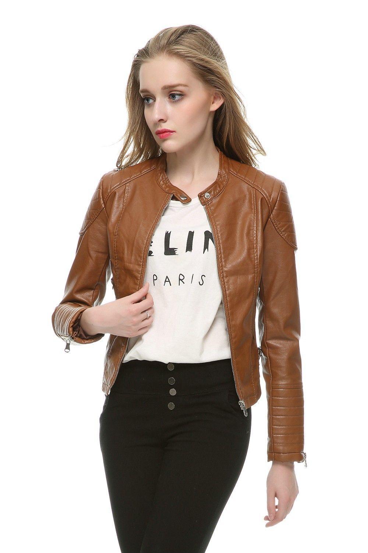 2015 Fashion Women Elegant Zipper Faux Leather Biker