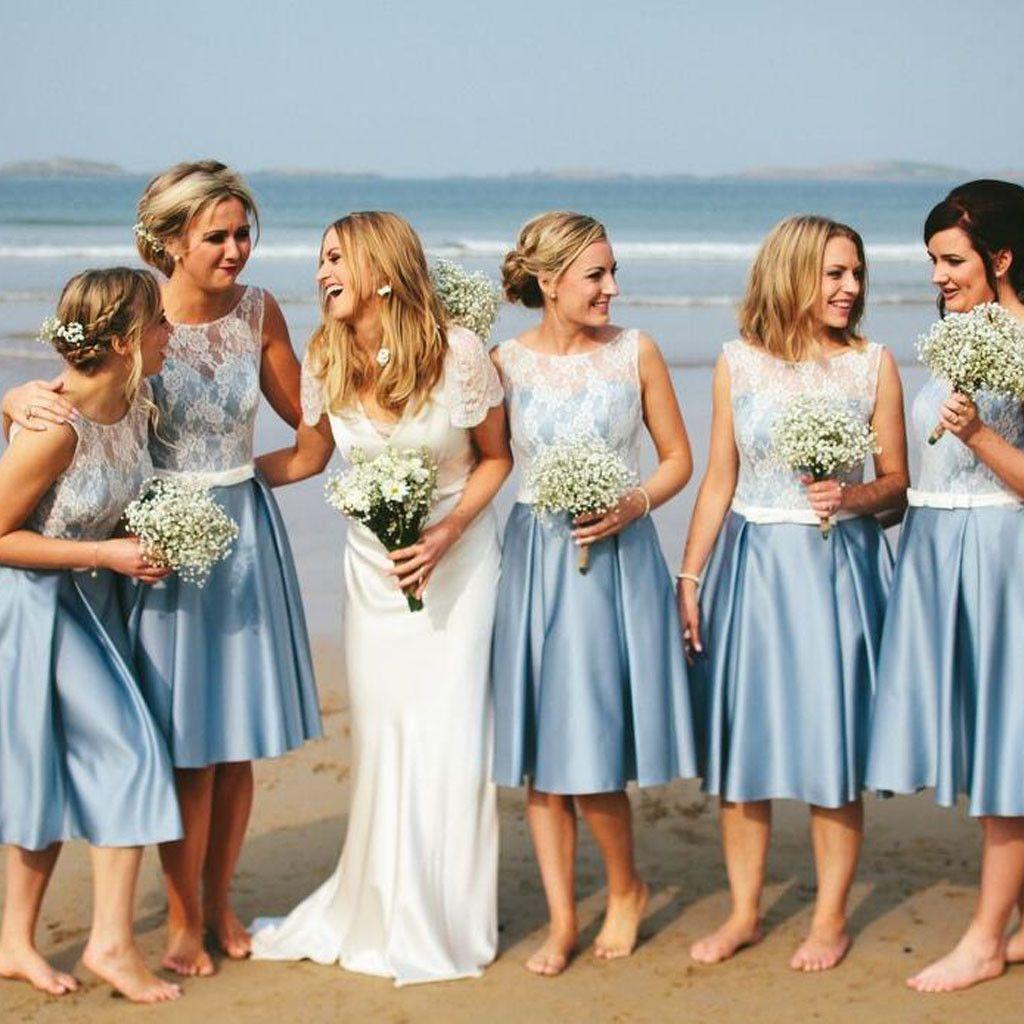 Popular junior pretty blue satin white lace short bridesmaid dresses