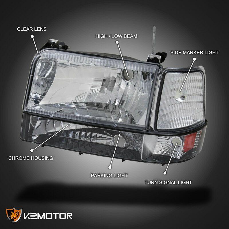 1992 1996 Ford F150 F250 F350 Bronco Headlights Parking Bumper Corner Lamps 6pc 2