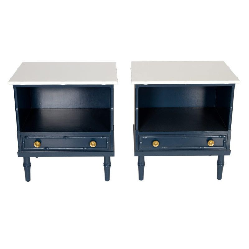 Navy and White Bamboo End Tables, Pair