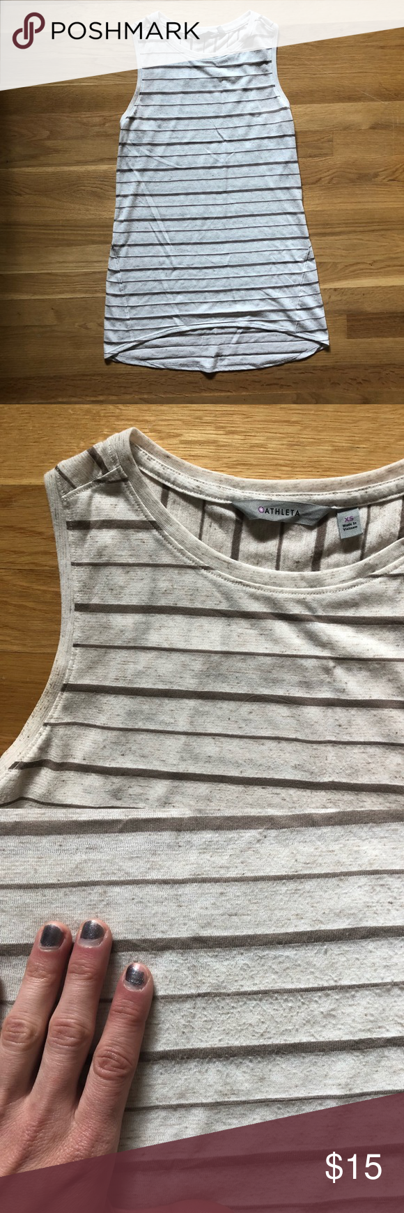 7828e3d4626 TWO Athleta Tunic Tanks TWO (2) tunic-length tank tops from Athleta. One is  natural with beige/brown stripes and the other is grey with navy stripes.