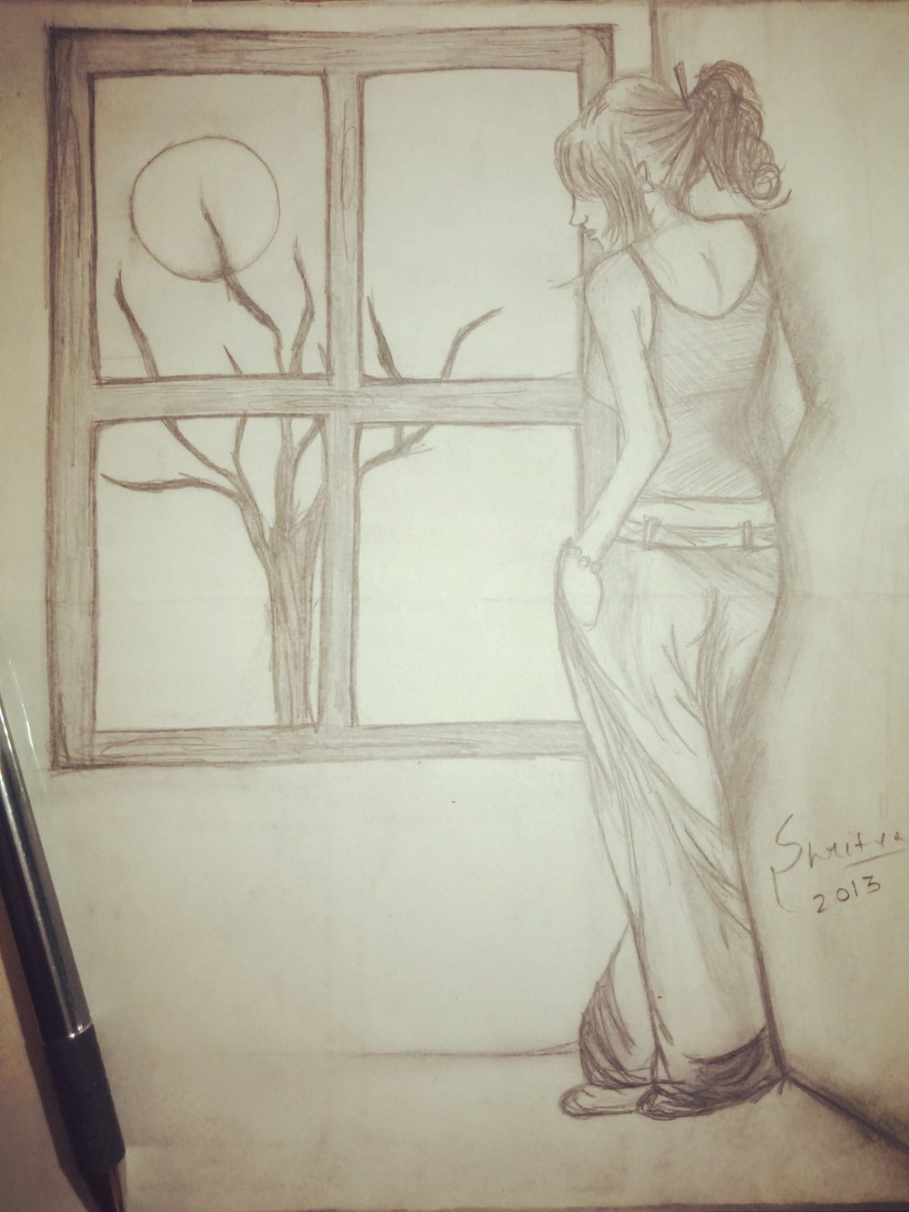 Lonely Girl Pencil Sketch Sketches Female Sketch Lonely Girl