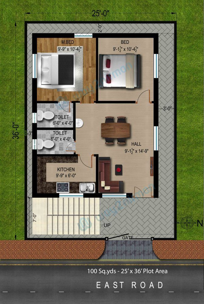 150 Sq Yd House With Garden Google Search 2bhk House Plan Simple House Plans 20x30 House Plans