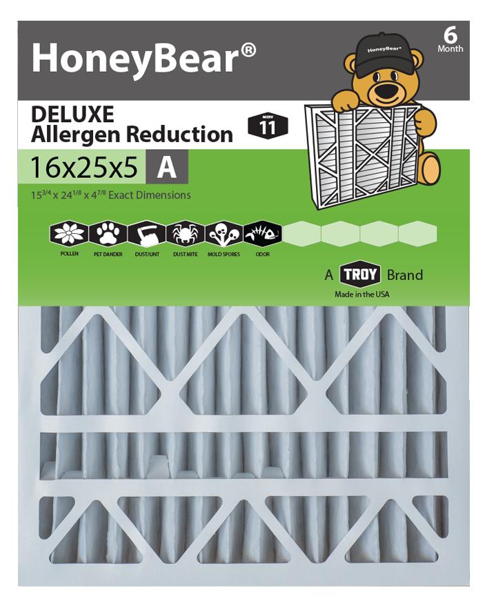 "16x25x5 ""A"" HoneyBear® MERV 11 DELUXE Allergen Reduction"